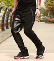 2014 fashion Leather drop crotch pants men leather sweatpants jogger pants hip hop leather harem baggy pyrex hba
