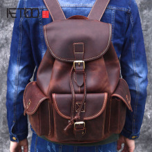 Top Quality Crazy Horse Cowhide First Layer Knapsack Male Computer Bag School Bags Vintage Genuine Leather Rucksack Men Backpack цена