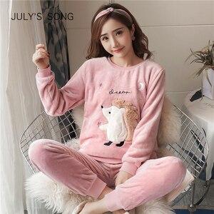 Image 2 - Julys Bài Hát Hoạt Hình Dép Nỉ Nữ Pyjama Bộ Thu Đông Bộ Đồ Ngủ Hình Thú Dễ Thương Nữ Homewear Dày Ấm Nữ Đồ Ngủ