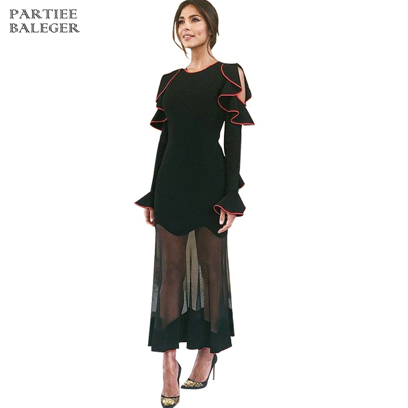 2019 New Arrival Trendy Color Block Ruffles Design Sexy Off The Shoulder Long Sleeves Club Celebrity Party Bandage Long Dress