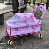 Baby Crib with Mosquito Net European Portable Multi function Baby Sleeping Bed Iron Baby Cot Trolley Crib for Newborn Babies 0~2