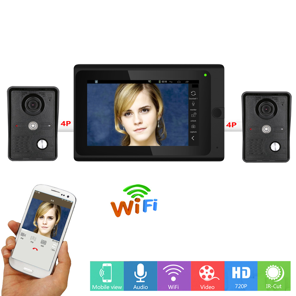 New Wireless/Wired 7 inch Video Door Phone Intercom Entry System 1 Monitor + 2 Outdoor Unit IR 1000TVL Camera Support APP unlock door wireless with monitor