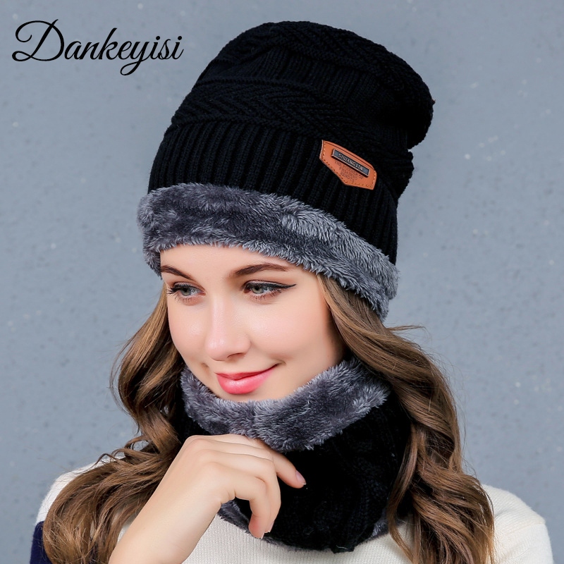 DANKEYISI Winter Warm   Beanie   Women Hat Scarf Thick   Skullies     Beanies   Soft Skull Baggy Knitted Cap Mask Gorros Hat For Men Women
