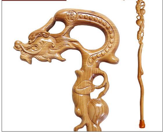 Piété filiale personnes âgées palissandre sculpté manuel en bois Dragon bois naturel leader Phoenix cadeau d'anniversaire canne