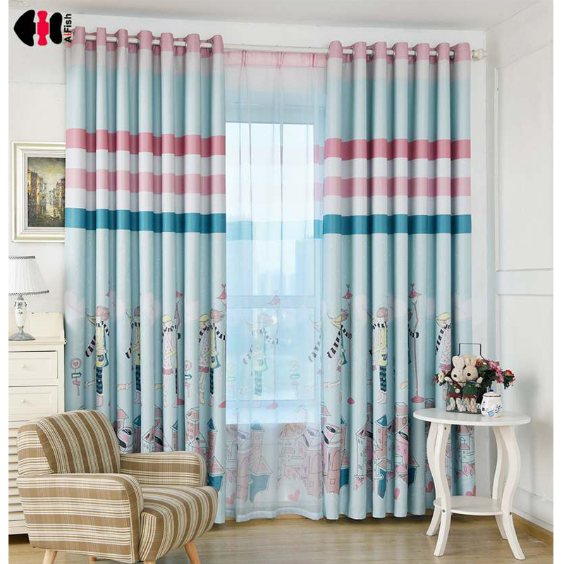 US $4.19 21% OFF|Boys and Girls Printed Curtain Cloth Blockout Shading  Blinds For Bedroom Living Room Balcony 2 colors Available WP177B-in  Curtains ...