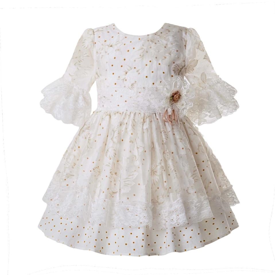 Pettigirl Wholesale White Dot Girl Ceremony Dress Lace Pageant Communion Dress For Wedding Party Mesh Kid