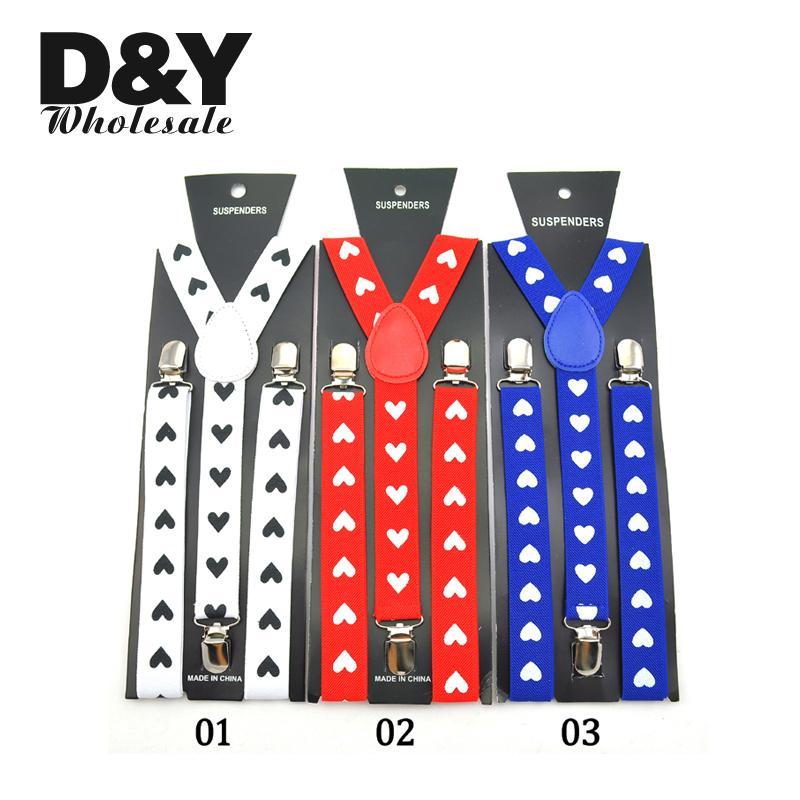Fashion Heart Blue Red White 2.5cm Wide Suspenders For Men Clip-on Braces Elastic Slim Suspender Y-back Men`s Suspenders Strap