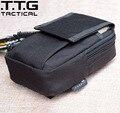 "Military MOLLE Waist Packs 5.5"" Military Phone Pouch Mini EDC Bag Cordura Nylon+SBS Zipper Sand/Black"