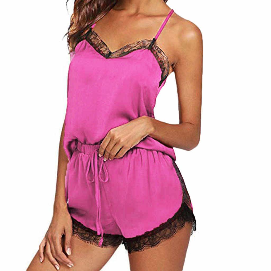 פיג סטי נשים הלבשת שרוולים רצועת Nightwear תחרה לקצץ סאטן Cami למעלה סטי פיג 'מה pyjama femme seksowna bielizna