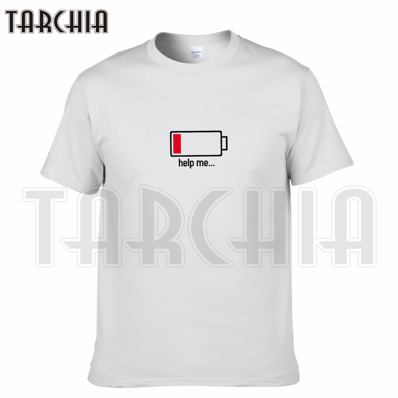 TARCHIA 2018 brand t-shirt cotton tops tee Battery funny 100% help me men short sleeve boy casual homme tshirt t plus fashion