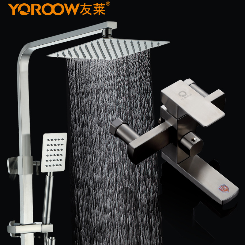 304 Stainless texture material bath freedom regulation hot and cold shower columnar type flower sprinkler shower and faucet
