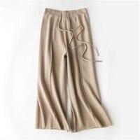 Z10 Pantalon Femme Thanh Lịch Kaki Màu Đen Quần Dệt Kim Nữ Màu Be Cao Eo Rắn Wide Leg Harem Pantalones mujer cintura