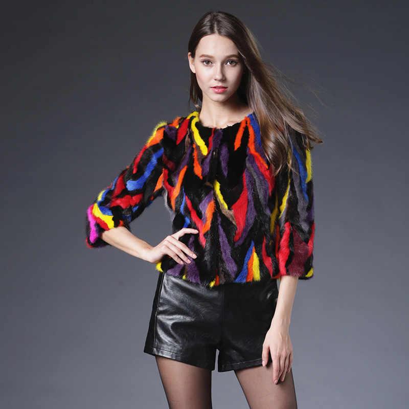 2018 Sıcak Satış Doğrudan Satış Yeni Varış Kadın Kürk Yelek Hakiki Vizon Ceket Şal Ceket Lüks Kış Üç Çeyrek Sleevethick