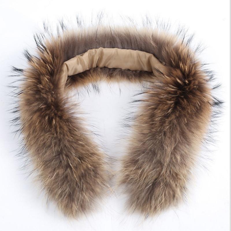 Hot Sale Winter Real Raccoon Fur Collar 100% Natural Raccoon Fur Scarf 70cm Fashion Coat Sweater Scarves Collar