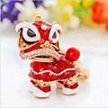 Kirin hot style Chinese wind lion dance metal set auger lion auto key pendant gift