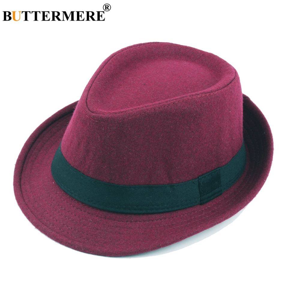 692678f4e1a1f BUTTERMERE Woolen Fedora Hat For Men Burgundy Vintage Felt Floppy Hat  Womens Winter Spring Casual Fashionable Classic Jazz Hats-in Fedoras from  Apparel ...