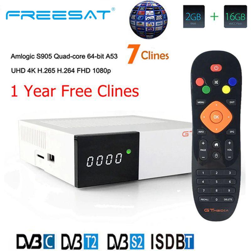 FREESAT GTC приемное устройство Android 6,0 ТВ коробка DVB S2 DVB C DVB T2 Amlogic S905D 2 Гб оперативной памяти, 16 Гб встроенной памяти + 1 год cccam спутниковый ТВ телевизор-in Приемник спутникового ТВ from Бытовая электроника