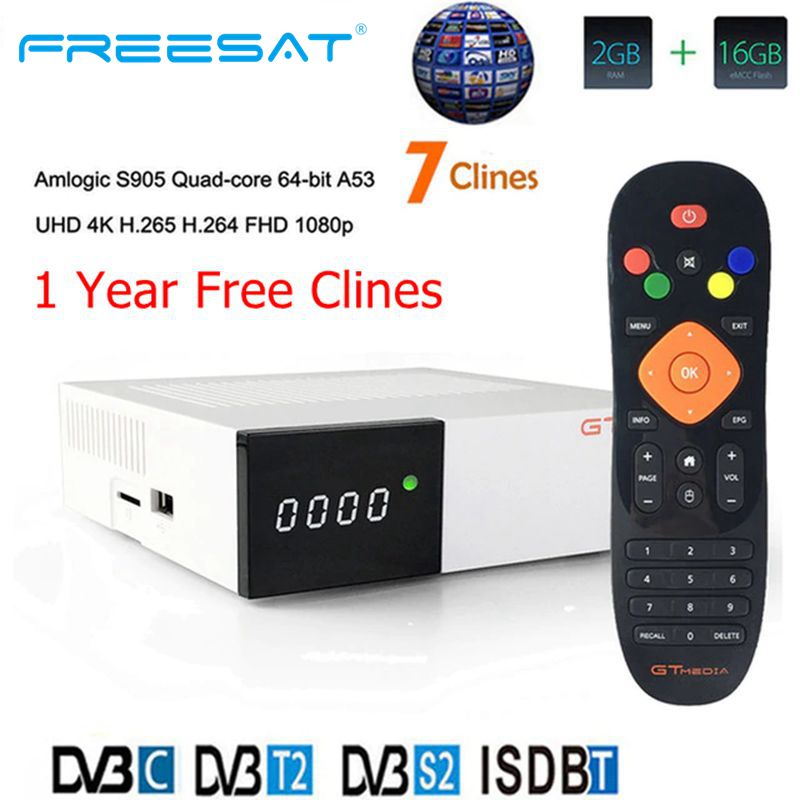 FREESAT GTC Receptor Android 6.0 TV BOX DVB S2 DVB C DVB T2 Amlogic S905D 2GB 16GB +1 Year cccam Satellite TV Receiver TV Box-in Satellite TV Receiver from Consumer Electronics
