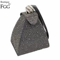 Women Retro Vintage Wedding Party Mini Gray Gliter Pyramid Handbags Hot Fixed Crystal Diamond Day Clutches