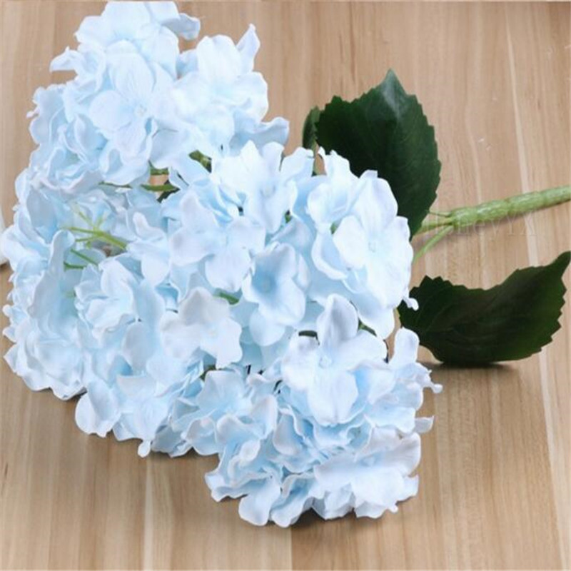 How To Make A Wedding Bouquet With Artificial Flowers.5 Heads Sky Blue Artificial Flower Hydrangea Bridal Bouquet Silk
