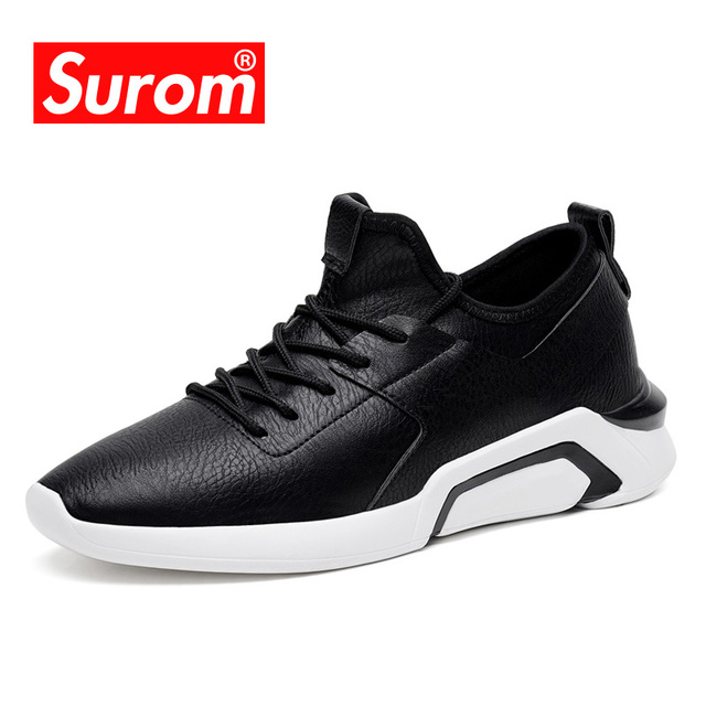 SUROM 2019 New Style Fashion Casual Shoes Light Breathable Microfiber Lace up Classic Black White Color Sneakers Men