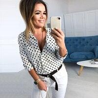 GUMPRUN 2019 Новое поступление женские отложной воротник половина рукава Повседневная рубашка блузка точечный принт черные белые блузки Плюс Ра...