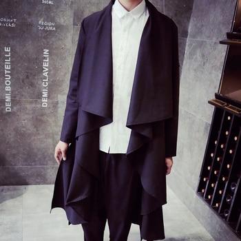 S-5XL!!Man long cloak windbreaker shirt in the mainstream of irregular cardigan cape coat lapels