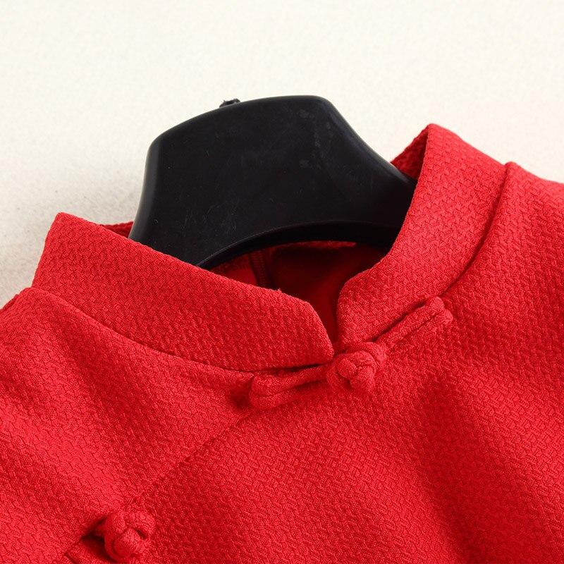 Modo Dell'annata Cinese Partito Ginocchio Donna Della Molla Stile Del Di Dell'abito Xxl Lunghezza Coreana Autunno Festival Sfera Alla Vestito Collo Rosso awTBnqxSxg