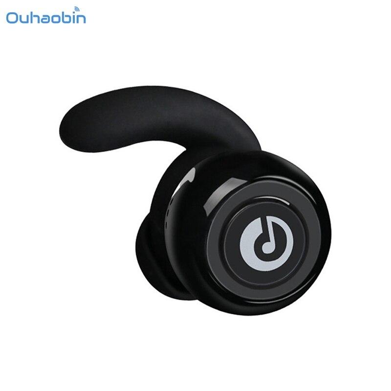 Ouhaobin New Cool Wireless Bluetooth Stereo Earphone In-Ear Mini TWS Bluetooth Earphones Black Double Portable Earphones Sep4 t050 3w mini portable retractable stereo speaker w tf black golden 16gb max