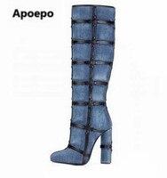 Новинка 2017 года; Брендовые женские зимние сапоги; высокие сапоги до бедра на высоком каблуке; женские сапоги черного и синего цвета; Модные ж