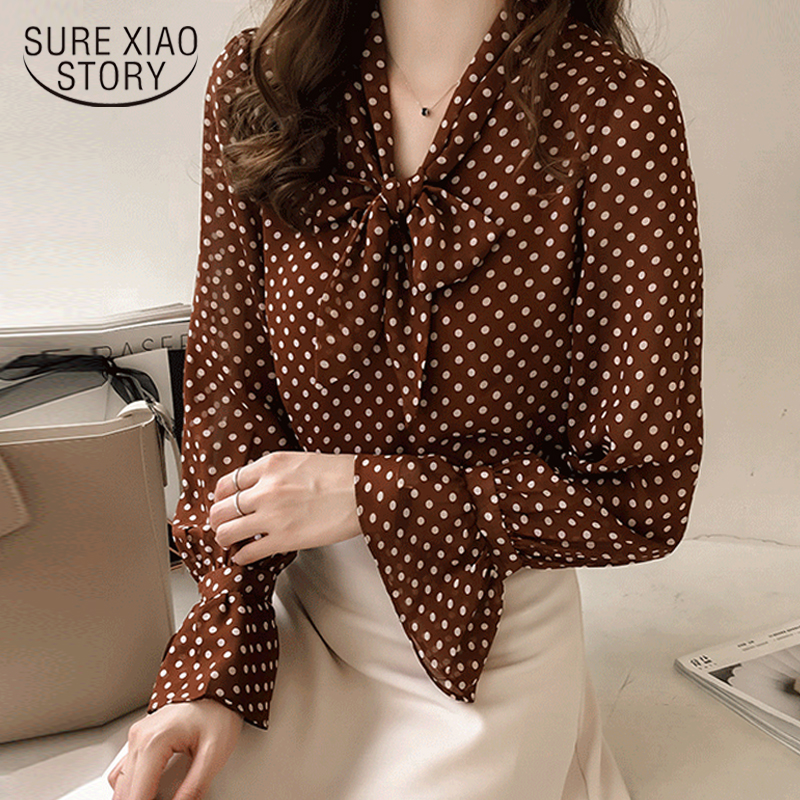 long sleeve women chiffon   blouse     shirt   plus size women tops print dot   blouse   fashion woman   blouses   2018 women   shirts   1537 45
