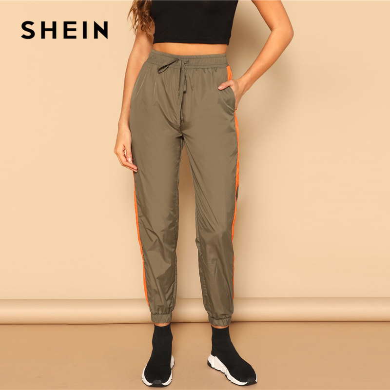 SHEIN Army Green Drawstring Waist Contrast Tape Side Utility Capris Pants Women Spring 2019 Casual Pocket Belted Trousers 2