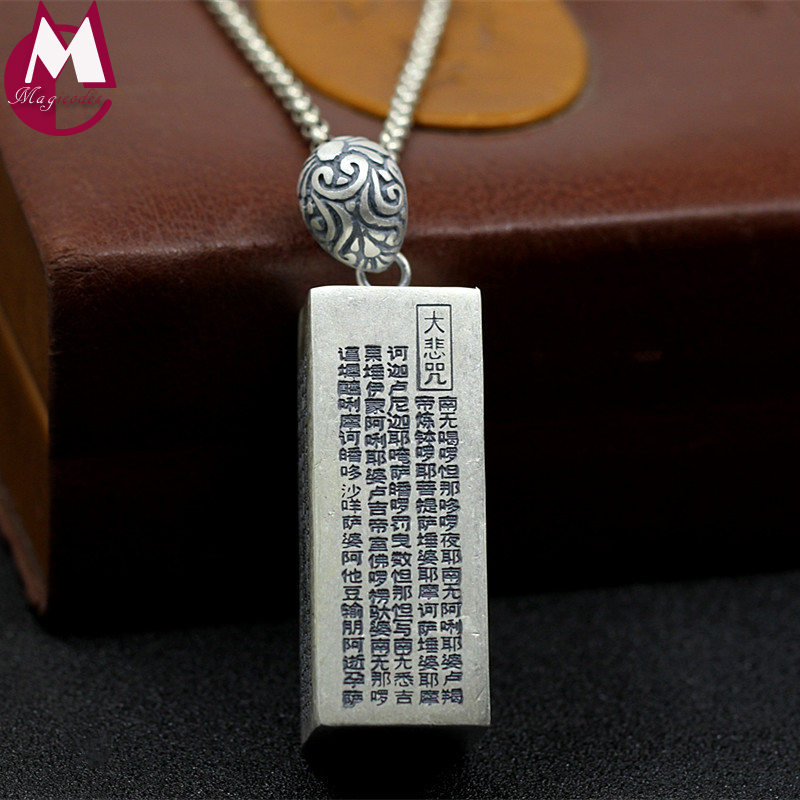 Men Women Buddhism Heart Sutra Pendant Religious Style Cuboid Geometry Charms Jewelry 100% 990 Sterling Silver Necklace SP89 chic style rhinestone crescent decorated cuboid shape pendant necklace for men