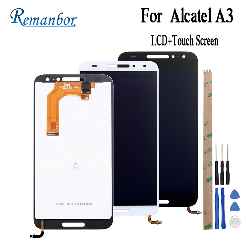 Remanbor  For Alcatel A3 LCD Display And Touch Screen 5 Inch Assembly Phone Accessory For Alcatel A3 A 3 5046 5046D 5046X +ToolsRemanbor  For Alcatel A3 LCD Display And Touch Screen 5 Inch Assembly Phone Accessory For Alcatel A3 A 3 5046 5046D 5046X +Tools
