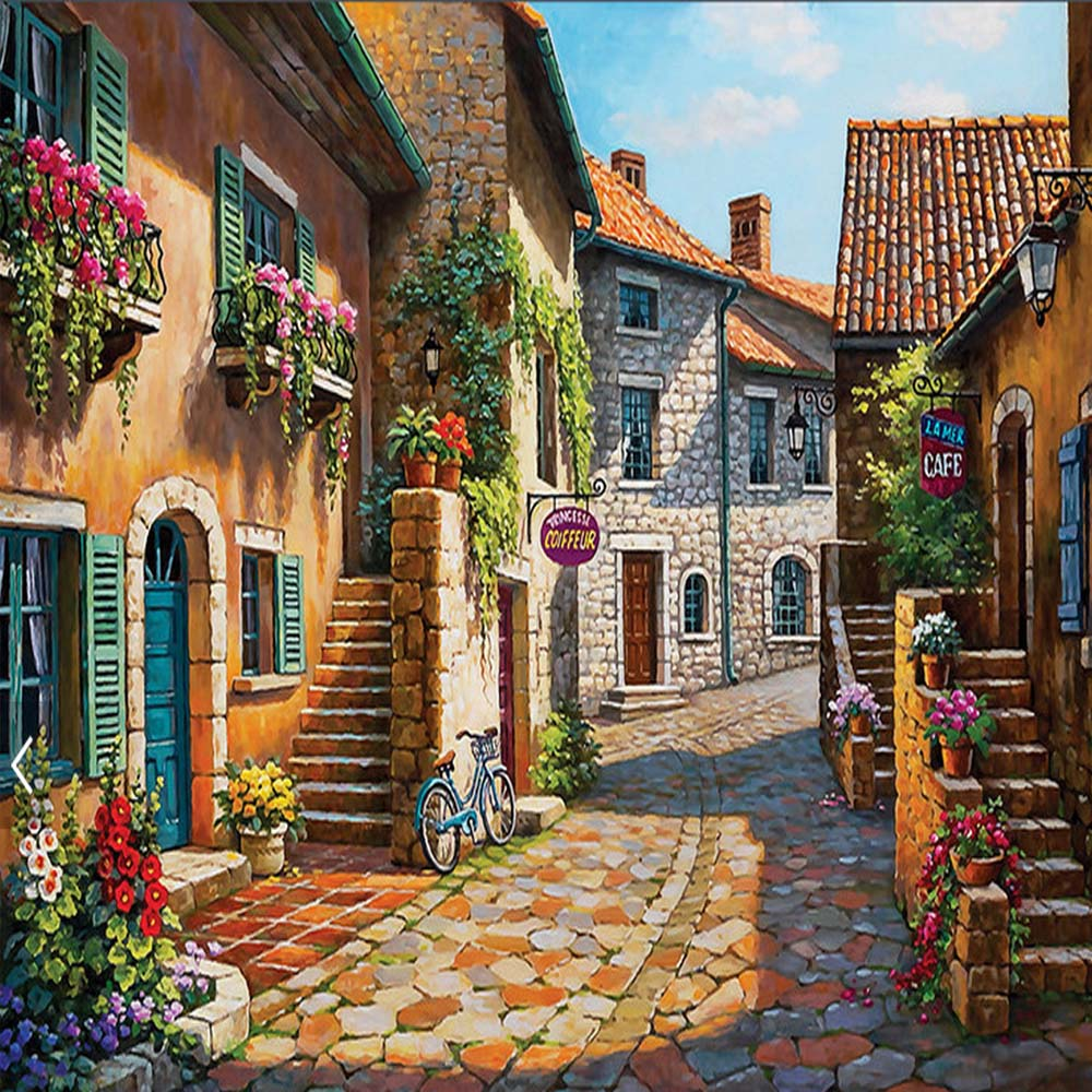European small town painting mural photo wallpapers living for Decorative mural painting