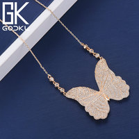 GODKI Fashion Butterfly Full Micro AAA Cubic Zircon Pendant Necklace For Women Wedding Dubai Bridal Silver Necklace Jewelry 2018