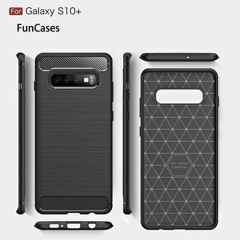 Étuis Anti-coups professionnels pour Samsung Galaxy S10 Plus S10e S7 Edge S8 S9 Note 8 9 coque arrière souple en Fiber de carbone pour téléphone smamsung