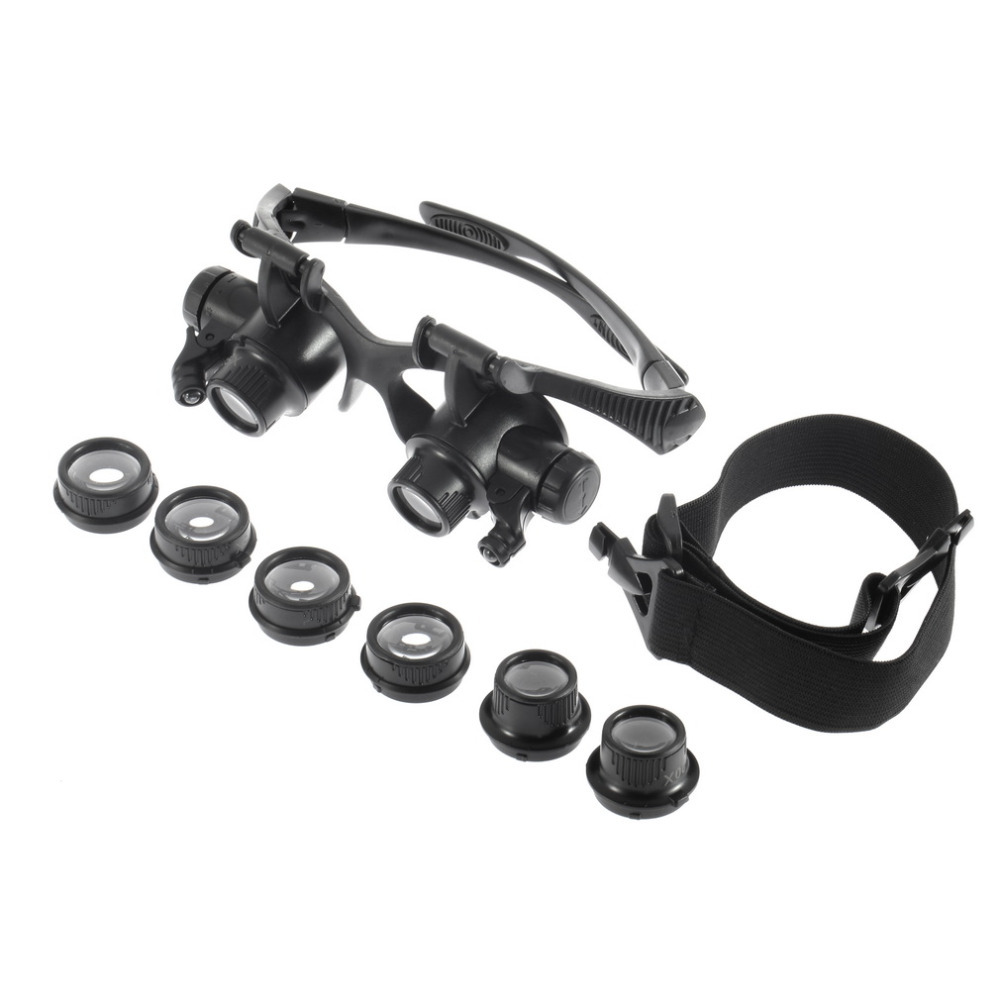 Magnifier Loupe 10X 15X 20X 25X Lens Jeweler Watch Repair Magnifying Glasses NEWBrand New magnifier 10x 15x 20x 25x led double eye glasses loupe lens jeweler watch repair measurement with 8 lens