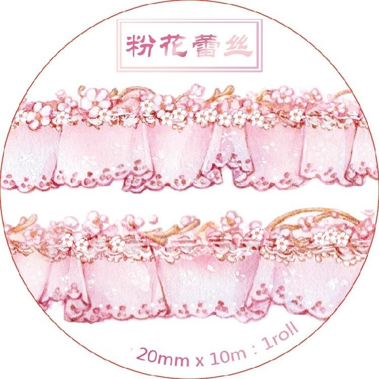 Pink Flower Lace Washi Tape Set 2cm*10m Kawaii Scrapbooking Tools Masking Tape Photo Album Diy Decorative Tapes 1pcs washi tape decorative scotch tape decorative tapes scrapbook paper masking sticker set photo album washi tape set 20mm 5m