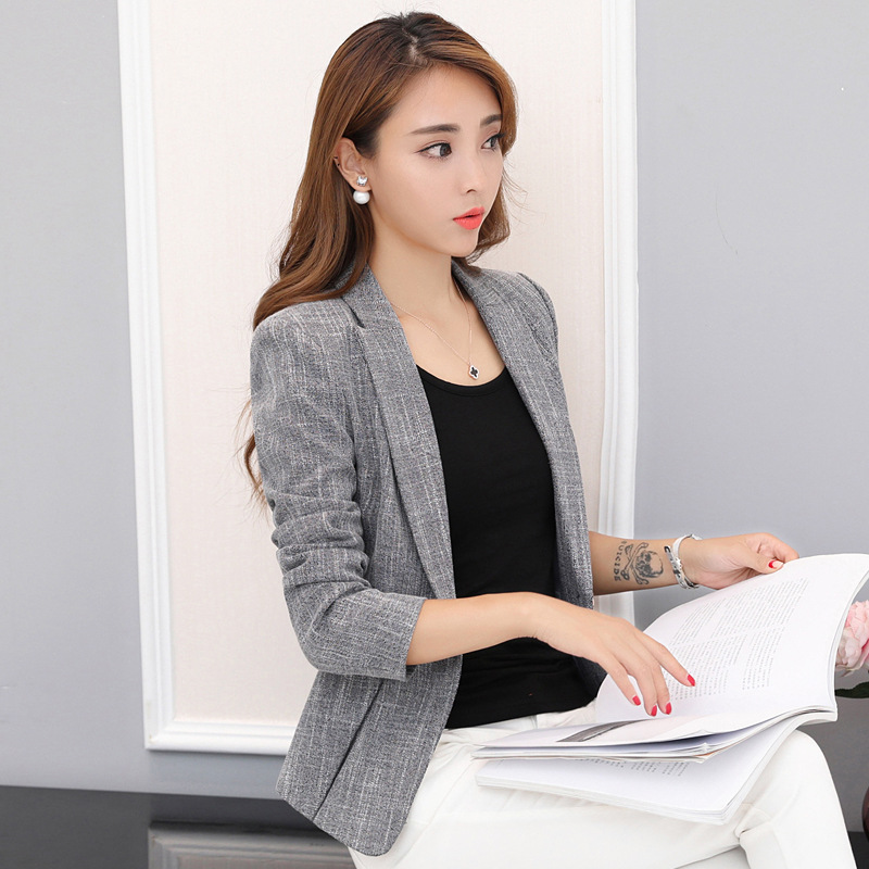 2018 Womens Blazer Spring Fashion Classic Linen Cotton Gray Small Blazers Coat Female OL Slim Outerwear Work Tops sale Y1062
