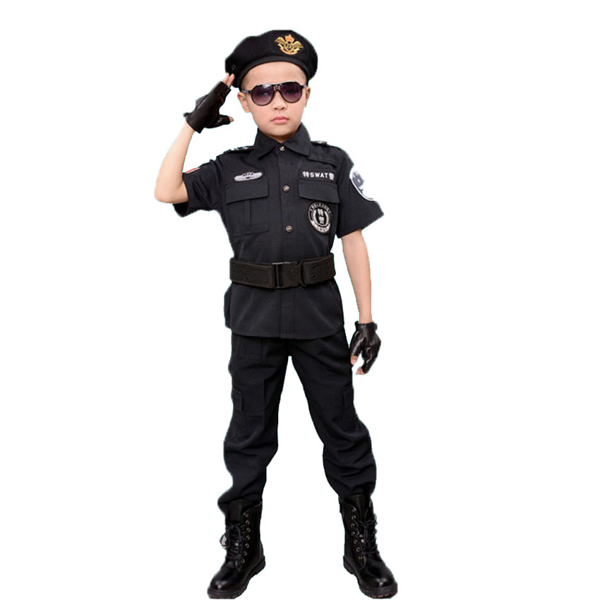 Childrens Day Party Fancy Policeman Cosplay Costumes Purim Carnival Army Suit Traffic Police Officer Uniform For Kids Boys Home