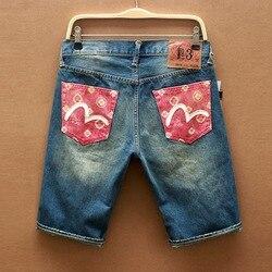 Новинка 2019, Аутентичные летние мужские повседневные джинсовые шорты Evisu высшего качества, Дышащие Модные мужские прямые шорты до колен