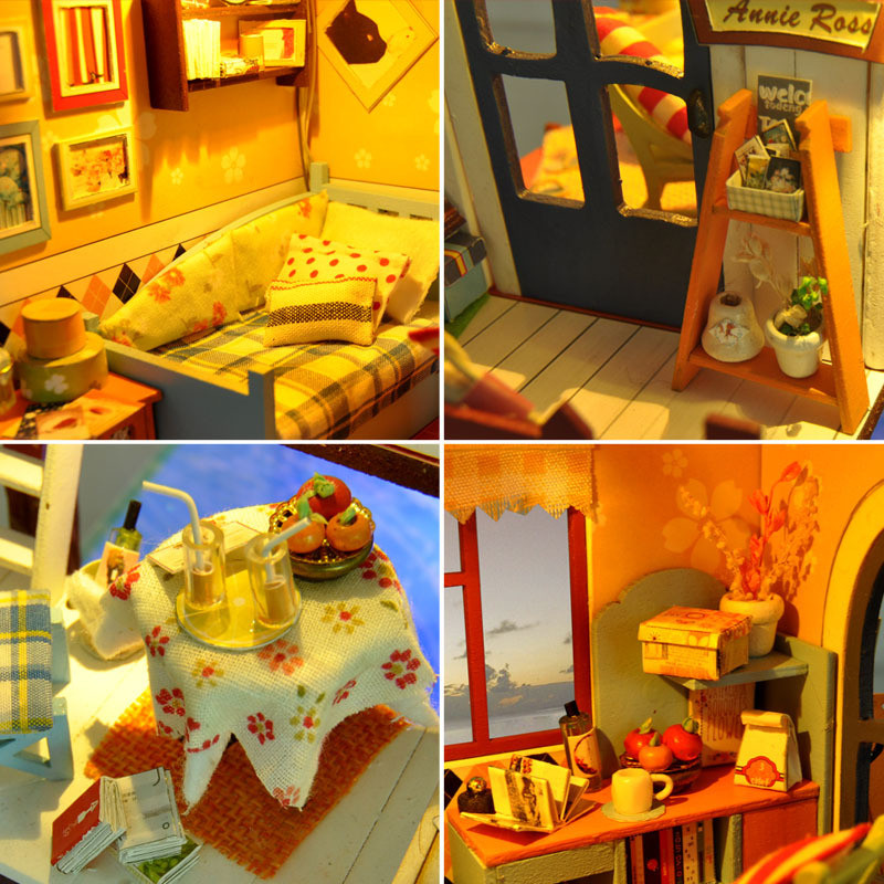 Cute Families House DIY Dollhouse Miniature Wood Manual Villa Model Puzzle Toy Creative Gifts Kids Toys Juguetes Brinquedos in Doll Houses from Toys Hobbies