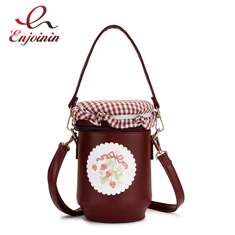 Fashion Honey Jam Jar Design Pu Bucket Design Girl's Casual Shoulder Bag Tote Crossbody Mini Messenger Bag Ladies Purse Handbag