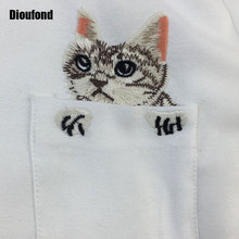 Lovely embroidered cat on pocket blouses