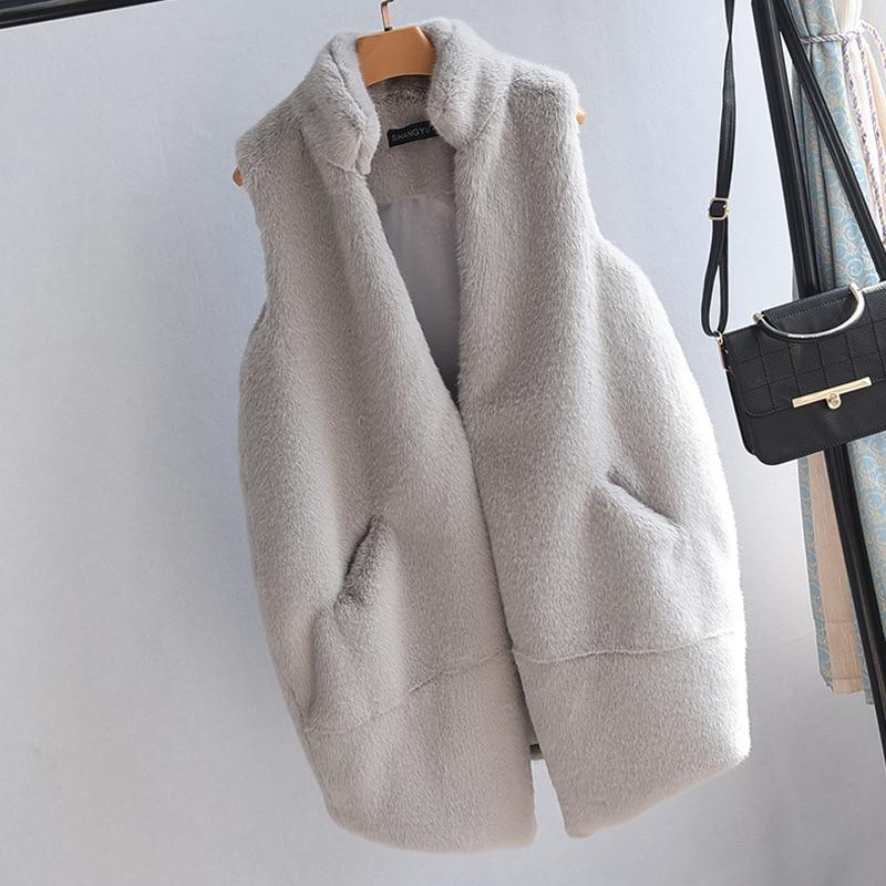 2017 automne/hiver nouveau faux renard fourrure vison en peluche cheval clip dames long manteau de fourrure gilet décontracté