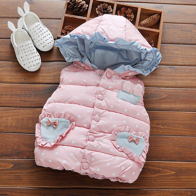 2016 Children vest Autumn winter baby girl waistcoat cotton frill hooded polka dot girls vest coat newborn clothes princess vest
