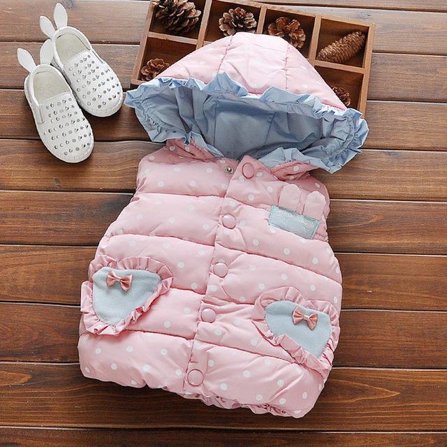 2016 Crianças Outono inverno colete bebê colete menina babado algodão com capuz polka dot meninas colete casaco de roupas recém-nascidos princesa colete