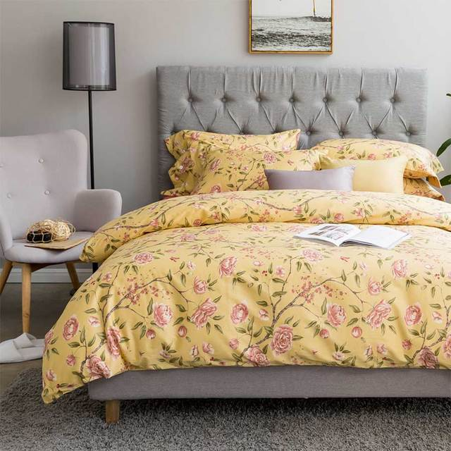 retro yellow flower bedding set adult teen childfull queen king vintage cotton home textile
