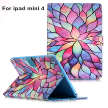 Beautiful Flower Dream Catcher Original painted PU leather cover tablet for ipad mini 4 flip leather case cover protector shell